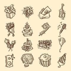 Birthday sketch icon set