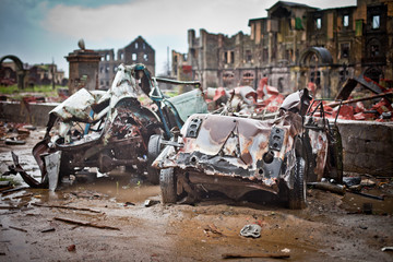 War devastation fear , scenery, wet, dirty, home town
