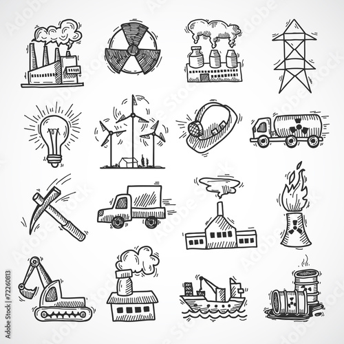 Industrial sketch icon set - 72260813