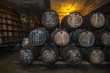 Sherry barrels in Jerez bodega, Spain - 72261276