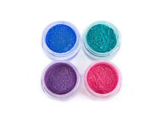 Set of mineral eye shadows in pastel colors