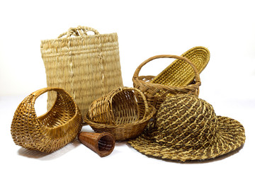 Assortment of Handmade Wicker Products Isolated