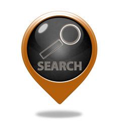 Search pointer icon on white background