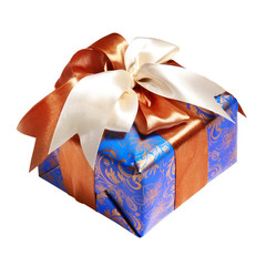 blue gift packing tied by ribbon