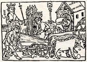 "Medieval draving ""Plowing and harvesting"""