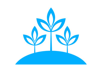 Blue plant icon on white background