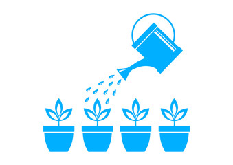 Blue watering can and plants on white background
