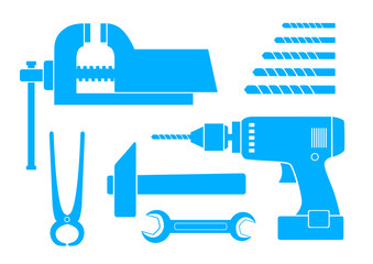 Blue tool icons on white background