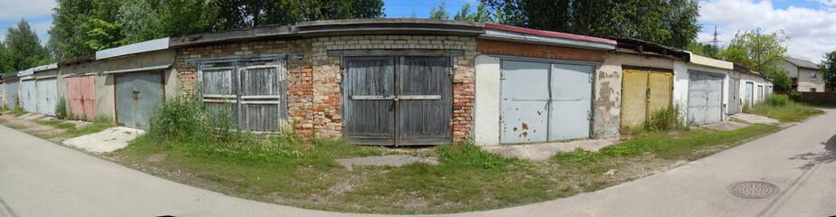 Panoramic view of garages