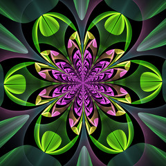 Fabulous symmetrical pattern of the leaves. Computer generated g