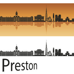 Preston skyline in orange background