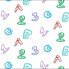 doodle school pattern letters and number
