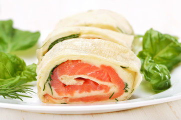 Salmon lavash rolls with cheese and herbs