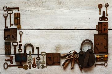 old keys and padlocks framework