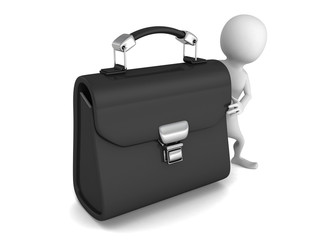 white 3d man with big black leather briefcase