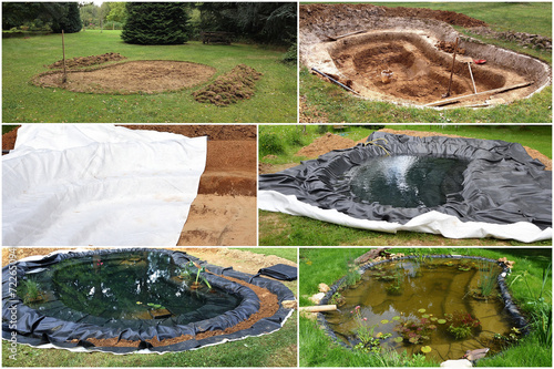 canvas print picture Construction d'un bassin de jardin