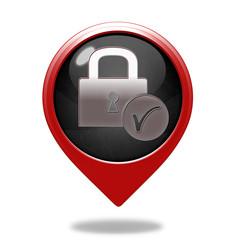 Lock pointer icon on white background