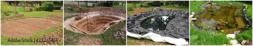 Construction d'un bassin de jardin - 72265414