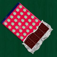 Dark chocolate in unwraped packing