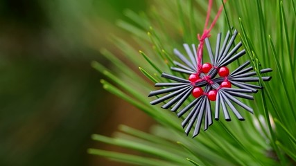 Christmas - red and black star hanging on a tree