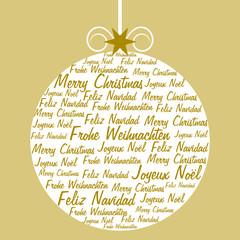 Weihnachtskugel gefüllt mit Weihnachtsgrüßen in vier Sprachen