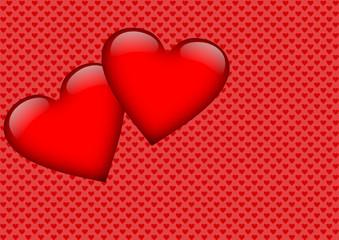 Zwei große rote Herzen auf rotem Hintergrund mit Herzmuster
