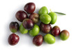 organic red and green olives