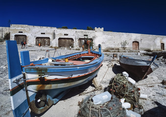 Italy, Sicily, San Vito Lo Capo, wooden fishing boats