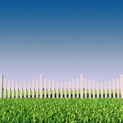 Back/front yard picket fence grass and clear sky