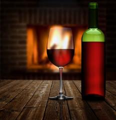 Rotwein am Kaminfeuer