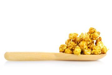 caramel popcorn on the white background