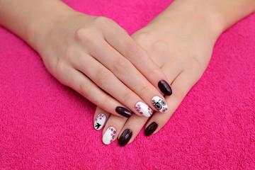 Beauty treatment of fingernails closeup of makeup