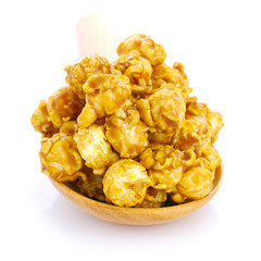 caramel popcorn on the white background