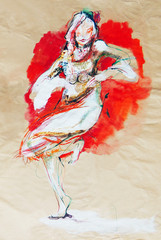 Drawing on paper of dancing Bulgarian folklore girl