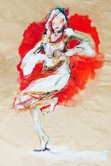 Drawing on paper of dancing Bulgarian folklore girl