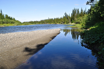 Northern taiga river on a Sunny day.