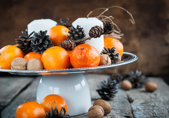 Christmas Horizontal Composition with Tangerines and Candles