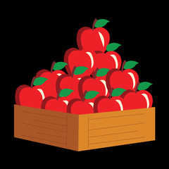 apple in a wooden crate. vector illustration