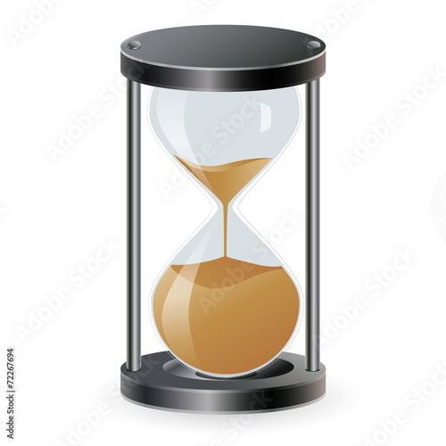 True transparent sand hourglass isolated on white background. - 72267694