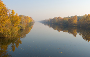 Morning mist on an autumnal river Oril in Ukraine