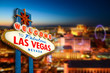 Leinwanddruck Bild - Welcome to Never Sleep city Las Vegas