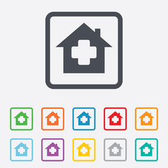 Medical hospital sign icon. Home medicine symbol