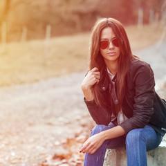 Beautiful stylish girl outdoor portrait