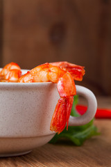 Tasty soup with shrimps