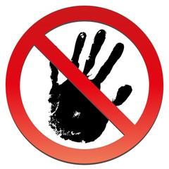 Conceptual stop forbidden hand print