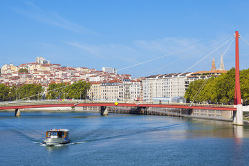 Lyon and Saone river with boat