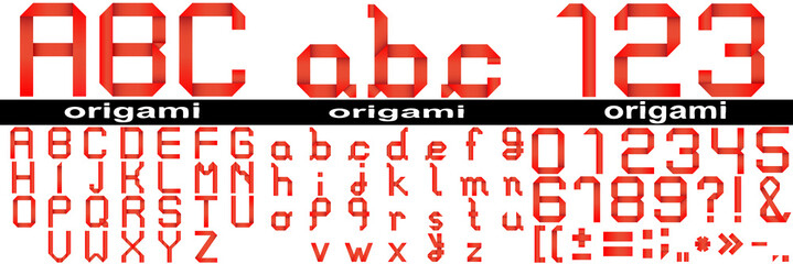Red origami fonts isoalted
