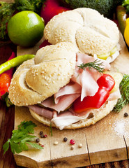Ham Sandwiches with Vegetables