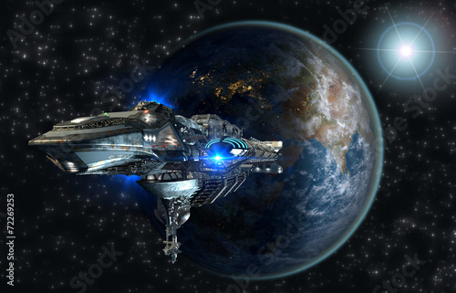 Fotobehang Ruimtelijk Spaceship leaving Earth for interstellar deep space travel