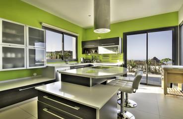 Modern green kitchen with ocean view
